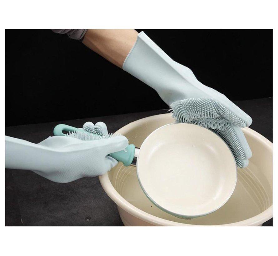 2in1 Magic Siliconen Rubberen Schoonmaak Handschoenen Met Spons - Afstoffen , Afwas , Auto Keuken schoonmaakhandschoenen met ingebouwde Borstel- licht groen