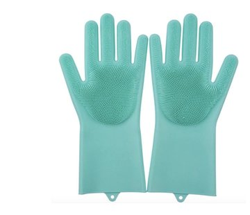 Discountershop 2in1 Magic Silicone Rubber Cleaning Gloves With Sponge - Dusting, Dishwashing, Car Kitchen Cleaning Gloves With Built-In Brush - Green