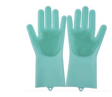 Discountershop 2in1 Magic Siliconen Rubberen Schoonmaak Handschoenen Met Spons - Afstoffen , Afwas , Auto Keuken schoonmaakhandschoenen met ingebouwde Borstel- Groen