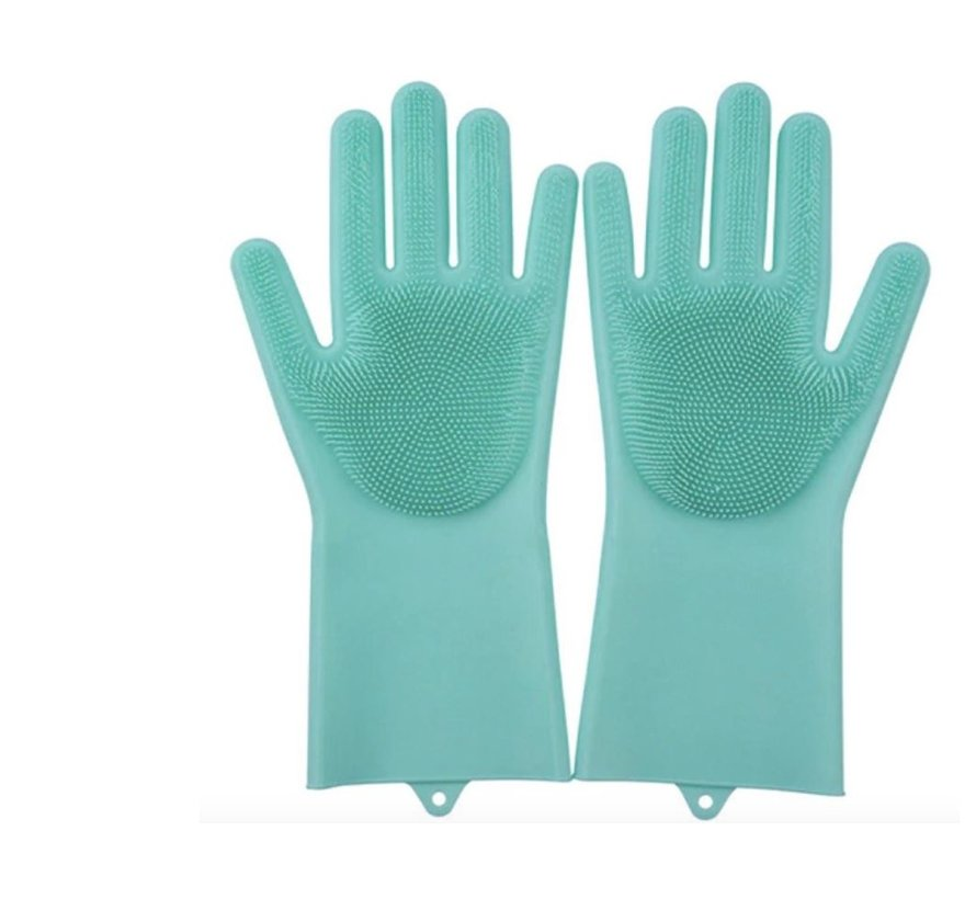 2in1 Magic Silicone Rubber Cleaning Gloves With Sponge - Dusting, Dishwashing, Car Kitchen Cleaning Gloves With Built-In Brush - Green
