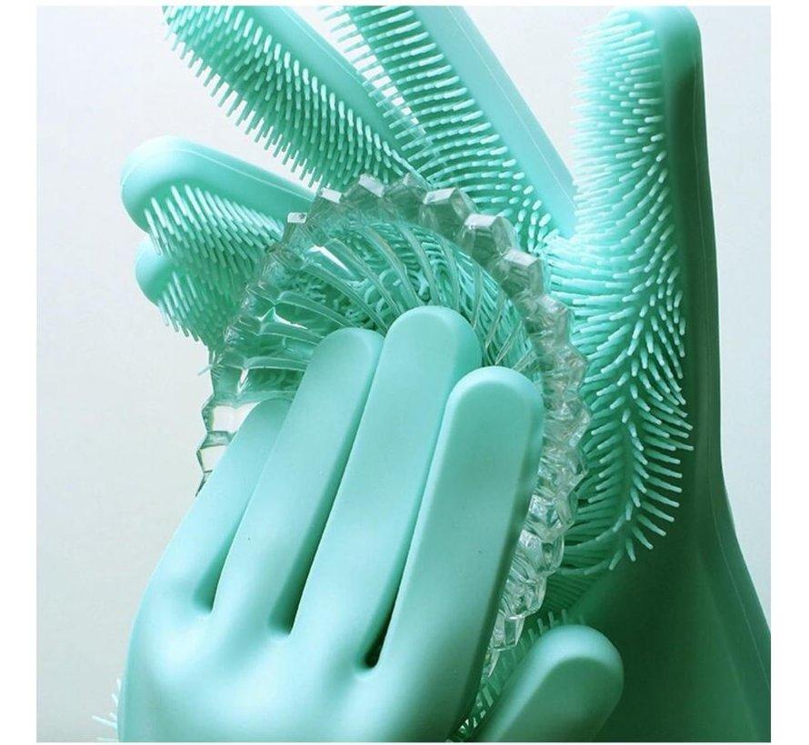 2in1 Magic Siliconen Rubberen Schoonmaak Handschoenen Met Spons - Afstoffen , Afwas , Auto Keuken schoonmaakhandschoenen met ingebouwde Borstel- Groen