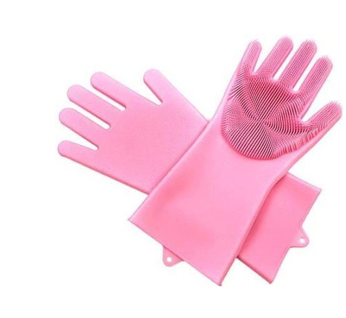 Discountershop 2in1 Magic Silicone Rubber Cleaning Gloves With Sponge - Dusting, Dishwashing, Car Kitchen Cleaning Gloves With Built-In Brush - Pink