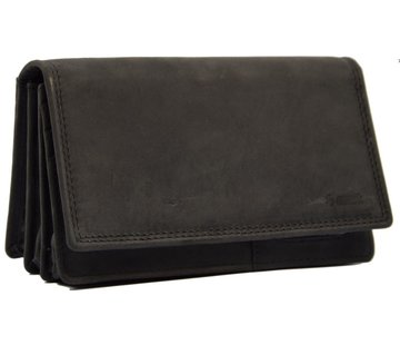 Discountershop Wallet - Household wallet - 17 cards - Ladies wallet - Harmonica wallet buffalo leather Black - Wallet black Transfer wallet - Harmonica wallet - Buffalo leather wallet