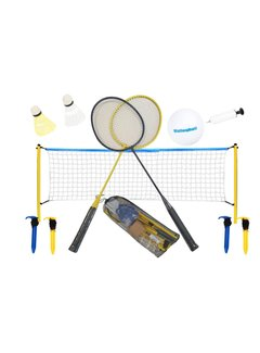 Discountershop badminton set with volleyball Shuttles included - with net 310 x 168 cm