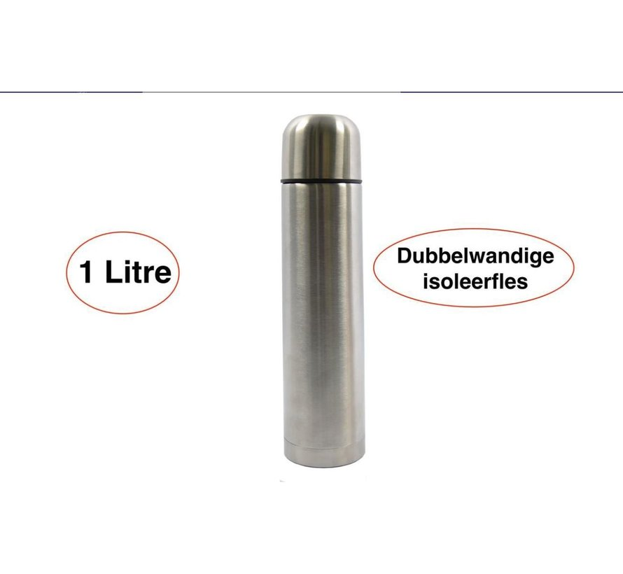 Isoleerfles - 1 l - RVS - dubbelwandige isoleerfles 1 Litre