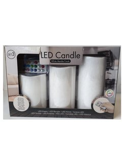 Discountershop 5 LED Candles SET 3 Pieces WITHOUT BATTERIES, Color Changing