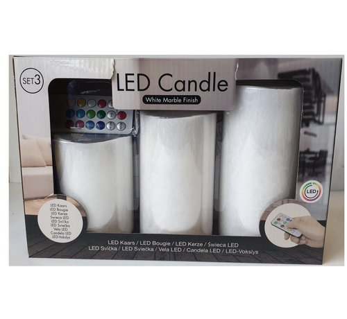 Discountershop 5 LED Candles SET 3 Pieces WITHOUT BATTERIES, Color Changing