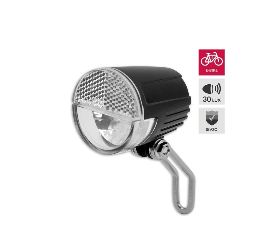 Bicycle headlight E-bike to see up to 60 meters and to be seen up to 3000 meters - 6-36V. Blister. StVZO
