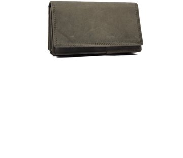 Discountershop Wallet - Household wallet - 17 cards - Ladies wallet - Harmonica wallet buffalo leather - Wallet - Transfer wallet - Harmonica wallet - Buffalo leather wallet - Gray