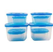 Merkloos Take Away Vershouddozen - Vierkant 10 stuks - Transparant Vershouddozenset - Set van 10 stuks - Opbergdozen - vershoudbakjes - 10-delig - Vershouddozen levensmiddelen 10 delig
