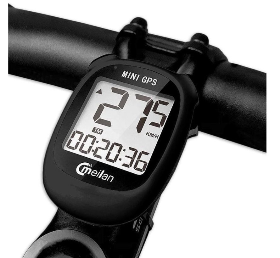 Discountershop - Cycling computer IPX6 - USB rechargeable - Cycling computer 1.6 inch mono LCD - Black