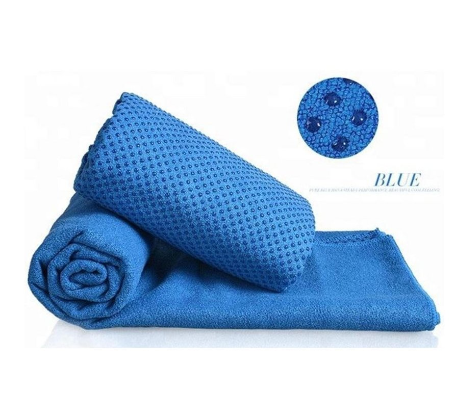 Discountershop - Yoga handdoek Blauw 183 x 61 cm met Antislip