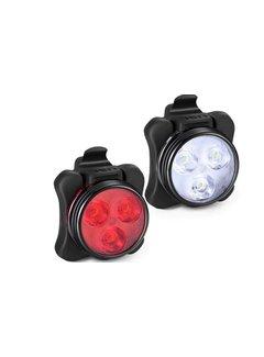 Discountershop Koplamp En Achterlicht Voor Fiets - Oplaadbare met USB - LED Lampje