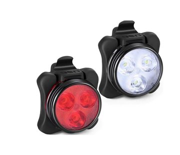 Discountershop Headlight And Taillight For Bicycle - Rechargeable with USB - LED Light