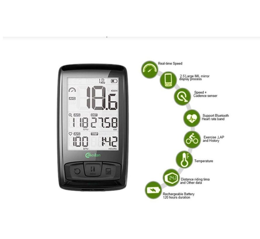 Cycling computer - Cycling computer 2.5 inch - USB rechargeable - Wirelessly connectable to speed - With bluetooth - Heart rate monitor and power meter - 15 cycling data display