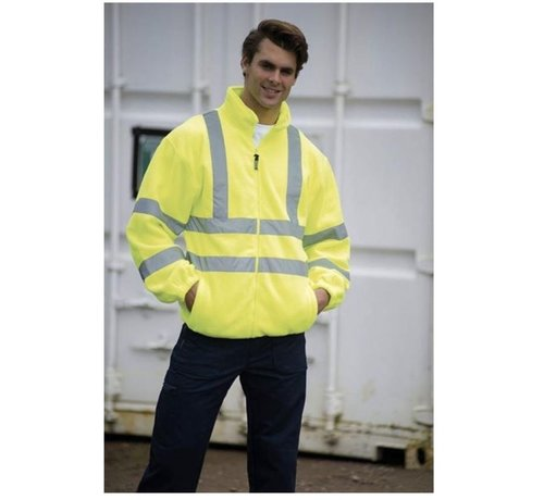 Discountershop Safety vest with high visibility - Reflector vest - Warning vest High reflector safety jacket with pockets - Safety jacket - Warm safety jacket - SIZE M