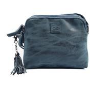 Discountershop Bicky Bernard Shoulder bag blue - dark blue with 3 zippers - bag - bags - shoulder bag ladies - handbag - blue - dark blue shoulder bag - shoulder bag girls
