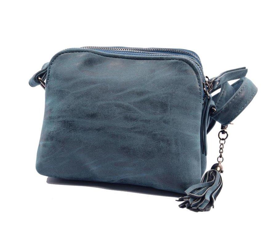 Bicky Bernard Shoulder bag blue - dark blue with 3 zippers - bag - bags - shoulder bag ladies - handbag - blue - dark blue shoulder bag - shoulder bag girls
