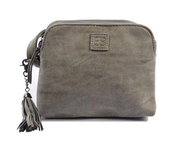 Discountershop Bicky Bernard Shoulder bag Gray with 3 zippers - bag - bags - shoulder bag ladies - handbag - gray shoulder bag - shoulder bag girls -