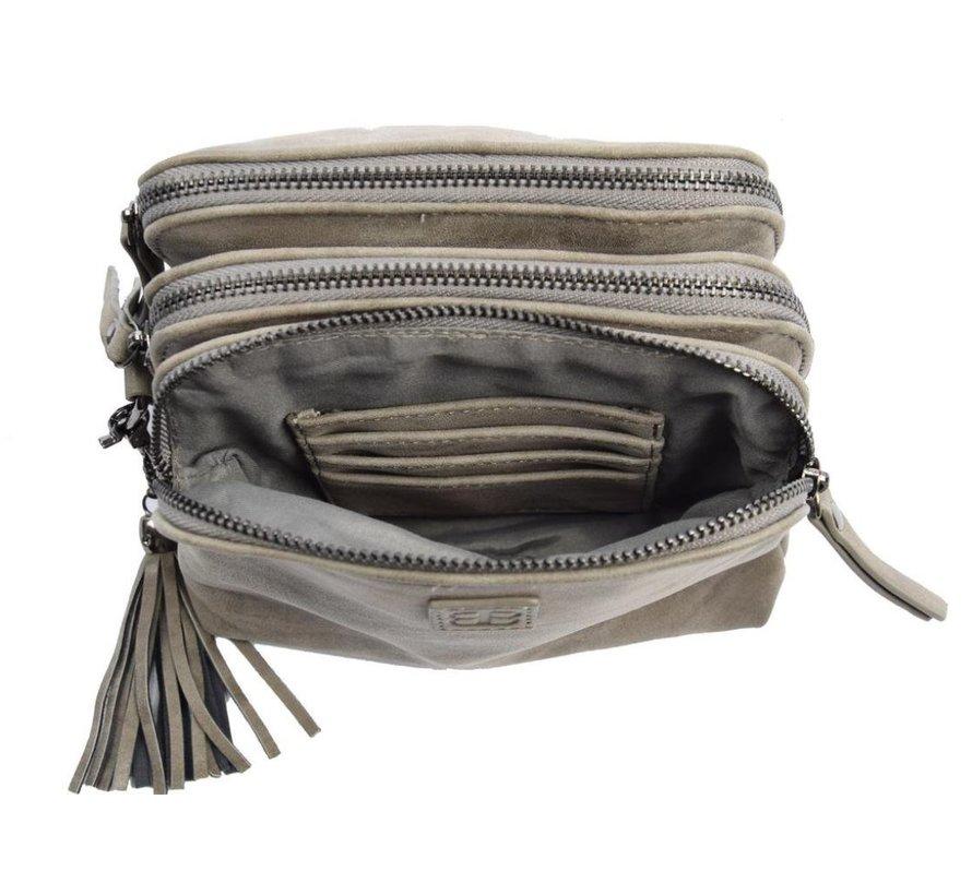 Bicky Bernard Shoulder bag Gray with 3 zippers - bag - bags - shoulder bag ladies - handbag - gray shoulder bag - shoulder bag girls -