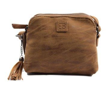 Discountershop Bicky Bernard Shoulder bag cognac - camel with 3 zippers - bag - bags - shoulder bag ladies - handbag - cognac-camel shoulder bag - shoulder bag girls -