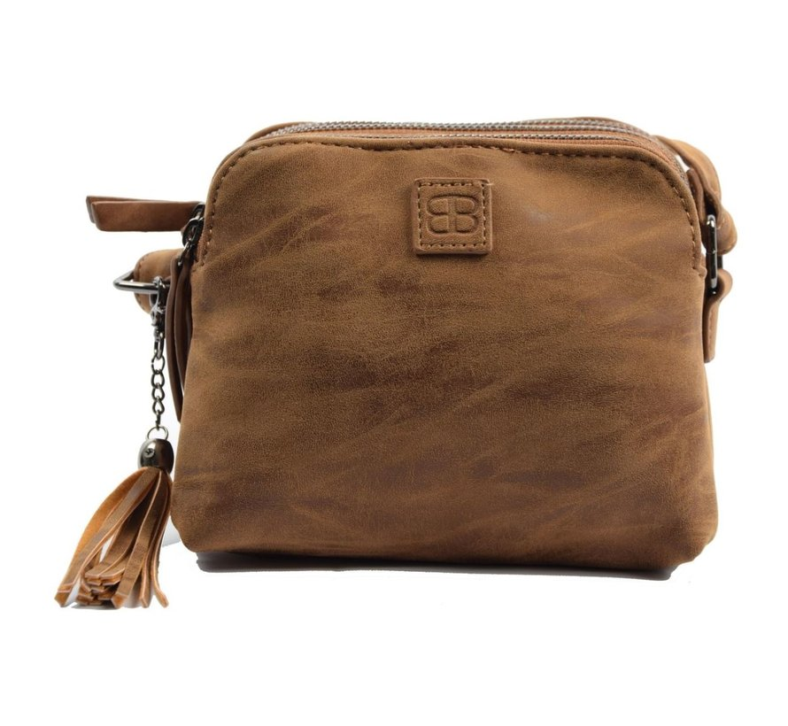 Bicky Bernard Shoulder bag cognac - camel with 3 zippers - bag - bags - shoulder bag ladies - handbag - cognac-camel shoulder bag - shoulder bag girls -