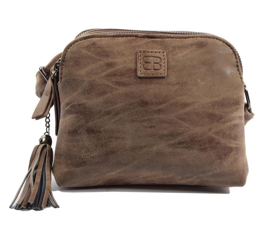 Bicky Bernard Shoulder bag brown with 3 zippers - bag - bags - shoulder bag ladies - handbag - brown shoulder bag - shoulder bag girls -