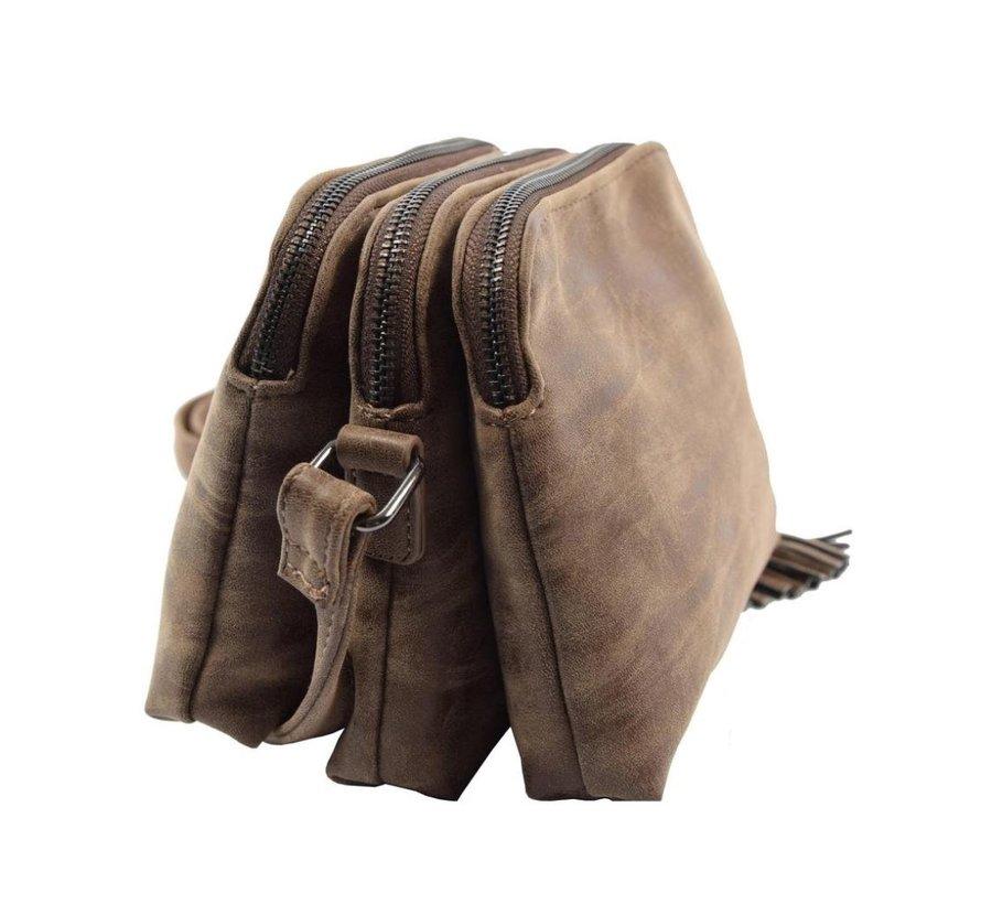Bicky Bernard Schoudertas bruin met 3 ritsen - tas - tassen - schoudertas dames - handtas - bruine schoudertas - schoudertas meiden -