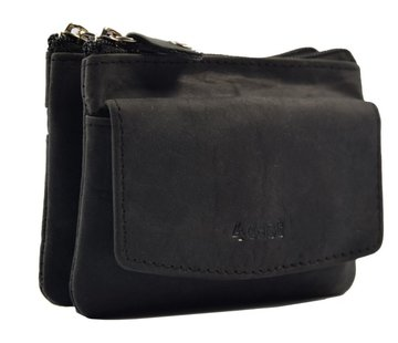 Discountershop Key pouch purse BLACK - purse pouch - ring purse - card holder with zipper - zipper purse - 3 zipper purse - buffalo leather purse - purse with 4 compartments