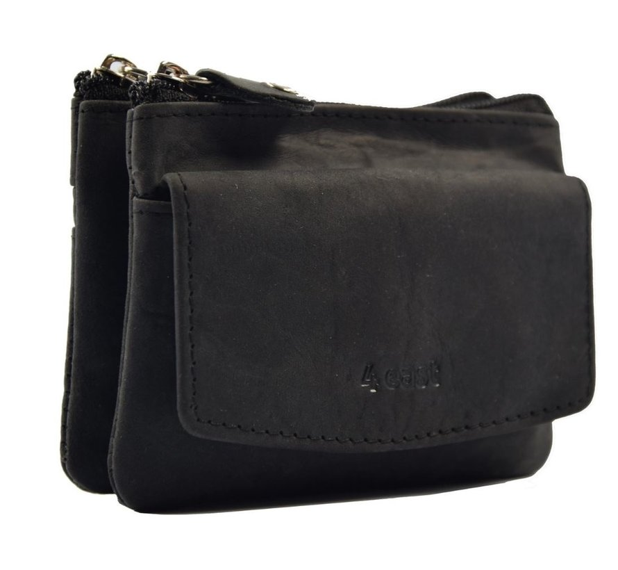 Key pouch purse BLACK - purse pouch - ring purse - card holder with zipper - zipper purse - 3 zipper purse - buffalo leather purse - purse with 4 compartments