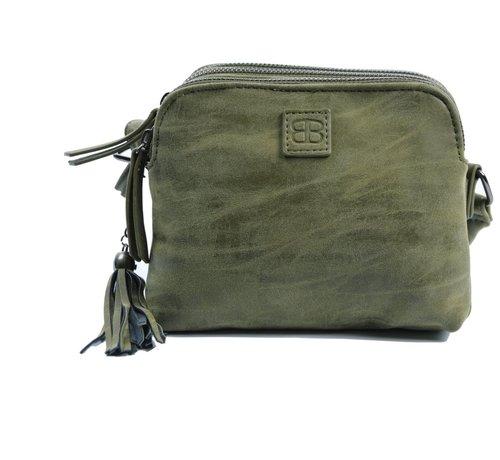 Discountershop Bicky Bernard Shoulder bag olive-olive with 3 zippers - bag - bags - shoulder bag ladies - handbag - olive - olive shoulder bag - shoulder bag girls -