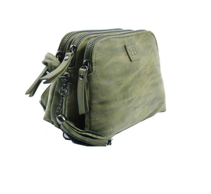 Bicky Bernard Shoulder bag olive-olive with 3 zippers - bag - bags - shoulder bag ladies - handbag - olive - olive shoulder bag - shoulder bag girls -
