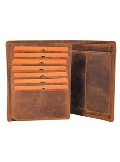 Discountershop Echt mannelijke portemonnee - Portemonnee met pasjes - Portemonnee met 14 pasjes - Heren portemonnee - dubbel gestikt portemonnee - Buffelleer portemonnee - platte portemonnee - billfold portemonnee - RFID