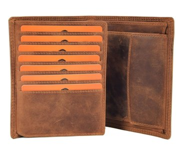 Discountershop Genuine male wallet - Wallet with cards - Wallet with 14 cards - Men's wallet - double stitched wallet - Buffalo leather wallet - flat wallet - billfold wallet - RFID