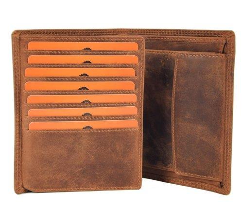 Discountershop Genuine male wallet - Wallet with cards - Wallet with 14 cards - Men's wallet - double stitched wallet - Buffalo leather wallet - flat wallet - billfold wallet - RFID