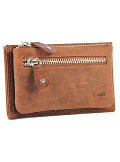 Discountershop Wallet anti-skim - Wallet buffalo leather - Wallet with 10 cards - Small wallet - wallet compact Brown - RFID