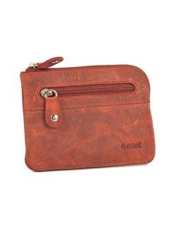 4East Sleuteletui portemonnee - portemonnee etui - ring portemonnee - pasjeshouder met rits - rits portemonnee - 2 ritsen portemonnee - buffelleer portemonnee