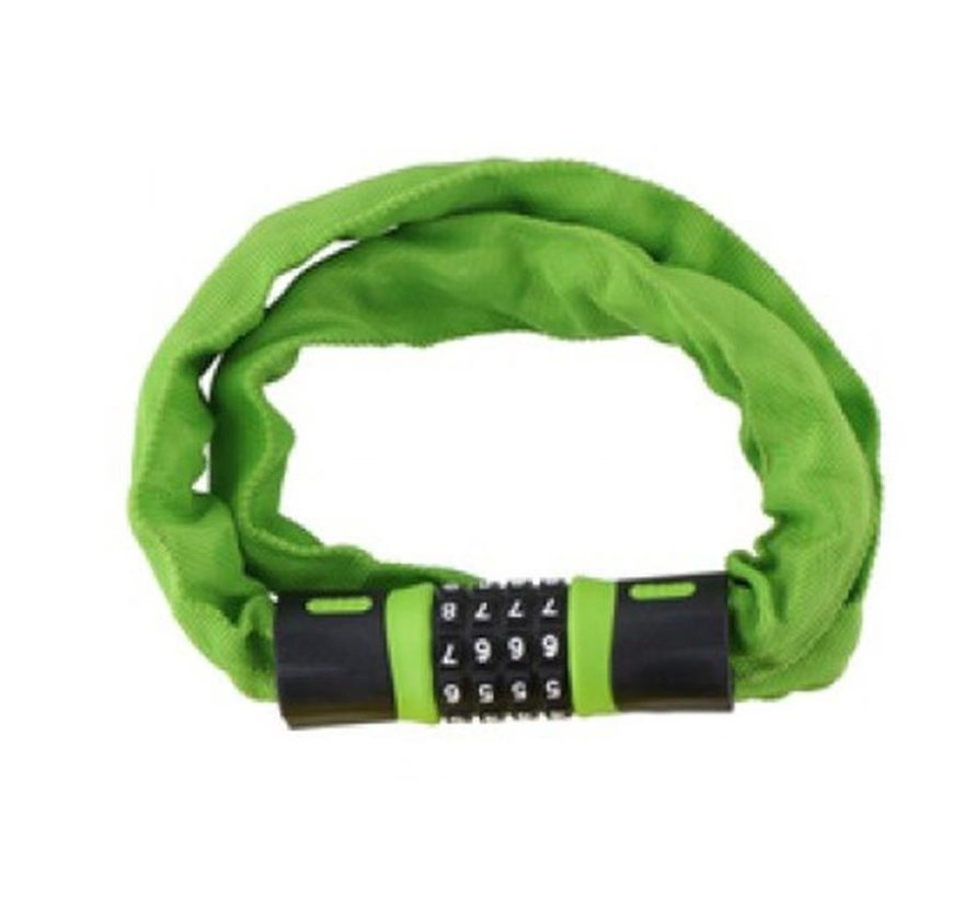 bicycle lock, scooter or motorcycle cable lock 4-way combination lock 30 x 5 x 900 mm - GREEN