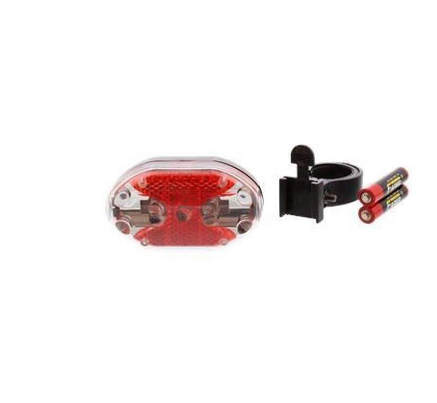 Fietsverlichting achter met 9 rode led lampjes met twee GRATIS AAA batterij