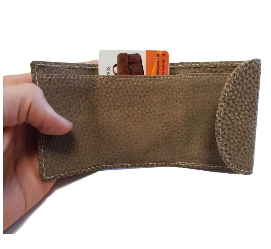 Small buffalo leather wallet, very compact with small money, see cards section in the photos, cards can protrude small a bit.