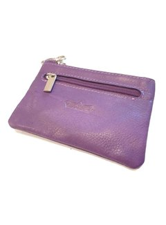 Discountershop Key holder with 2 compartments and made of very soft leather Purple