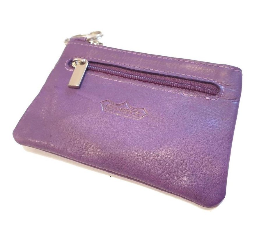 Key holder with 2 compartments and made of very soft leather Purple
