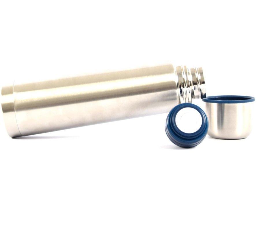 Isoleerfles - Thermofles - Drinkfles - Waterfles - Stalen - Draaidop isoleerfles - isoleerfles - thee - thermos - Fles - vacuumfles - Grijs - Zilver