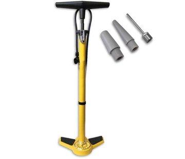 Discountershop Fietspomp met drukmeter 11 Bar Inclusief Adapters Voor Verschillende Ventielen Bike Pump FietsPomp - Staande fietspomp - Geel