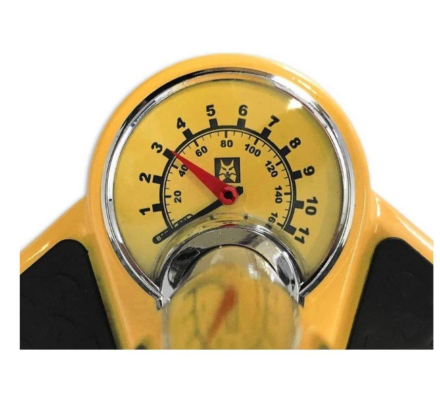 Fietspomp met drukmeter 11 Bar Inclusief Adapters Voor Verschillende Ventielen Bike Pump FietsPomp - Staande fietspomp - Geel