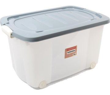 Discountershop Rollerbox - storage box - 45L - 1 piece - Wheels - Transparent / Blue