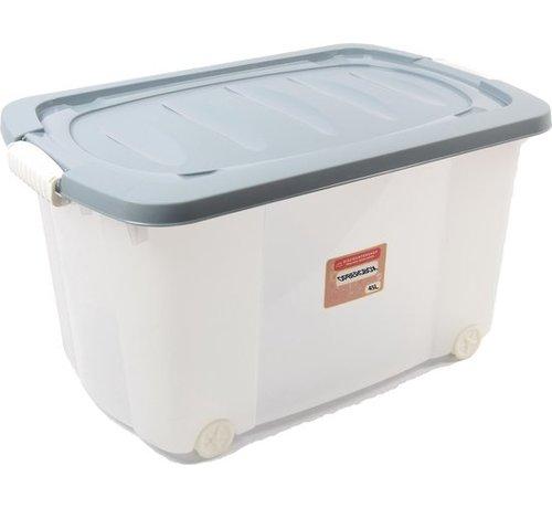 Rollerbox - opbergbox - 45L - 1 stuks - Wieltjes - Transparant/Blauw