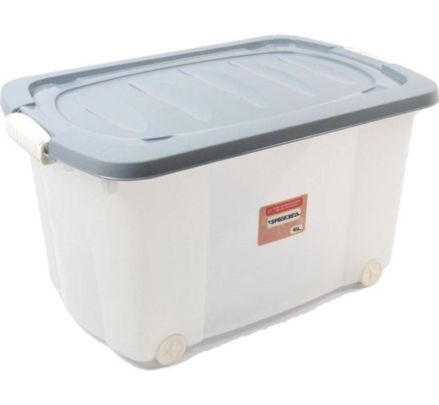 Discountershop Rollerbox - storage box - 45L - 1 piece - Wheels - Transparent / Blue