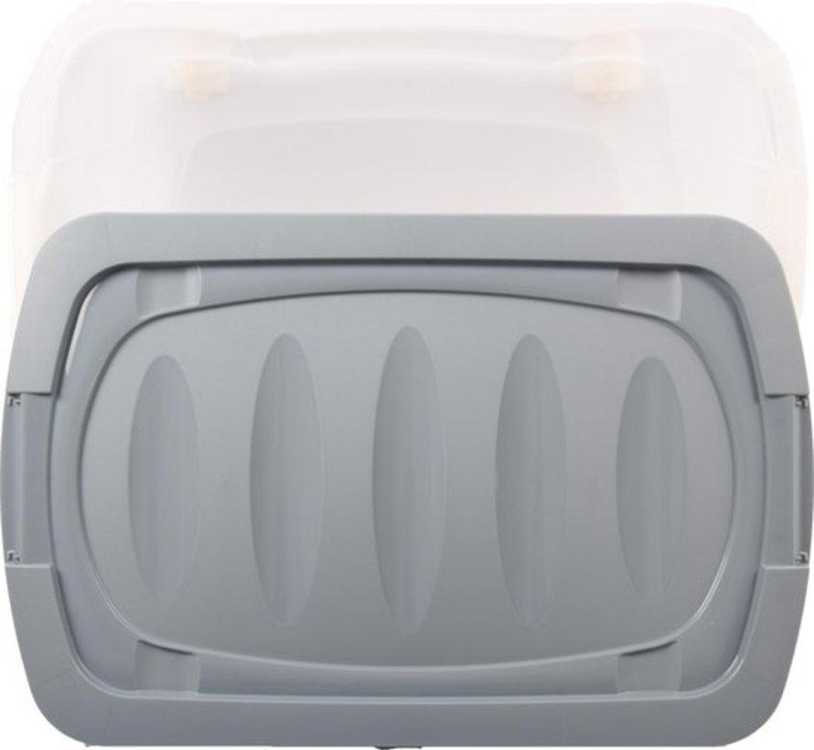 Discountershop Rollerbox - opbergbox - 45L - 1 stuks - Wieltjes - Transparant/Blauw
