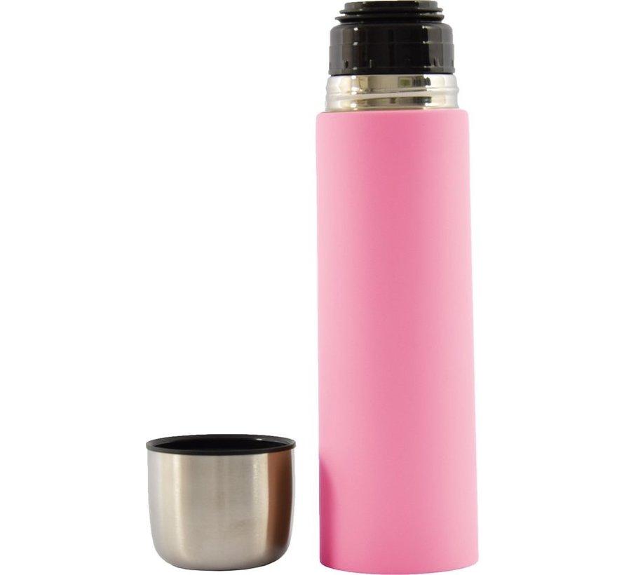 Thermosflesje - Isoleerfles- Thermosbeker - Isolatiekan - isoleerfles 8 x 8 x 28 cm - Inhoud van 700 ml - isoleerfles 8 x 8 x 28 cm - Inhoud van 0,7 liter soft touch - Roze - Pink